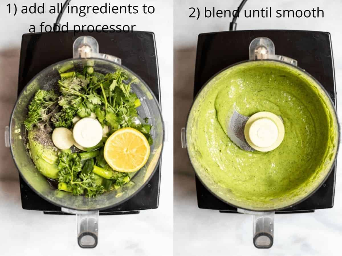 Two images side by side showing how to make this vegan dressing.