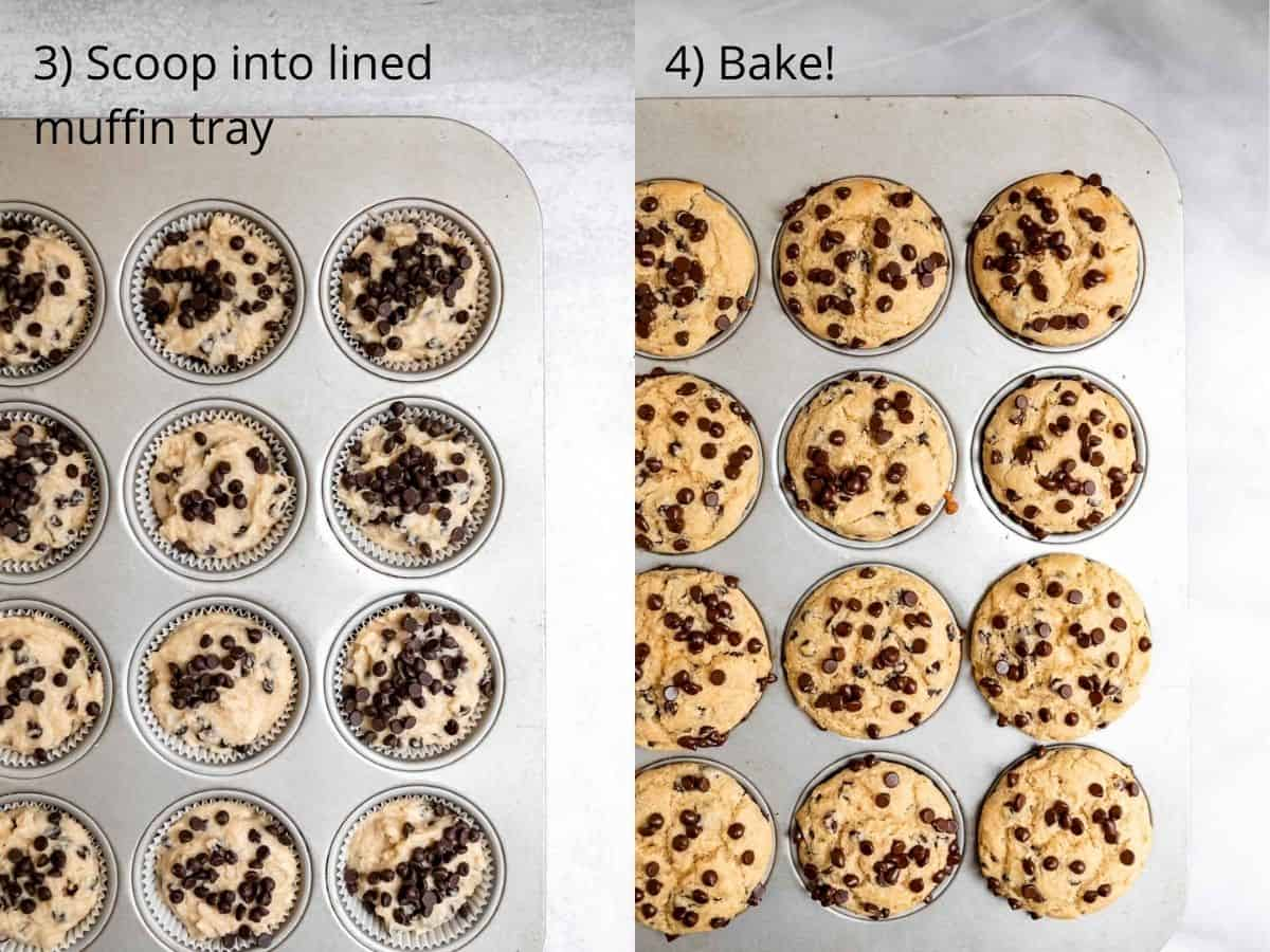 chocolate chip muffins in the tray before and after baking