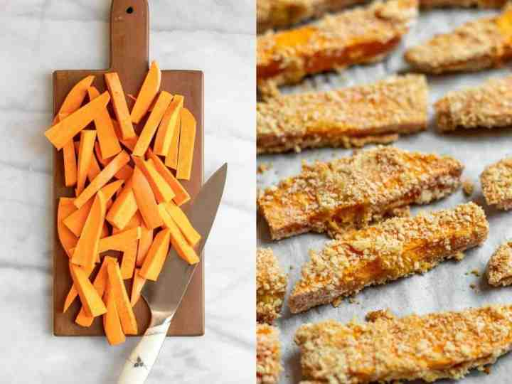 Sweet potatoes chopped into strips for the sushi.
