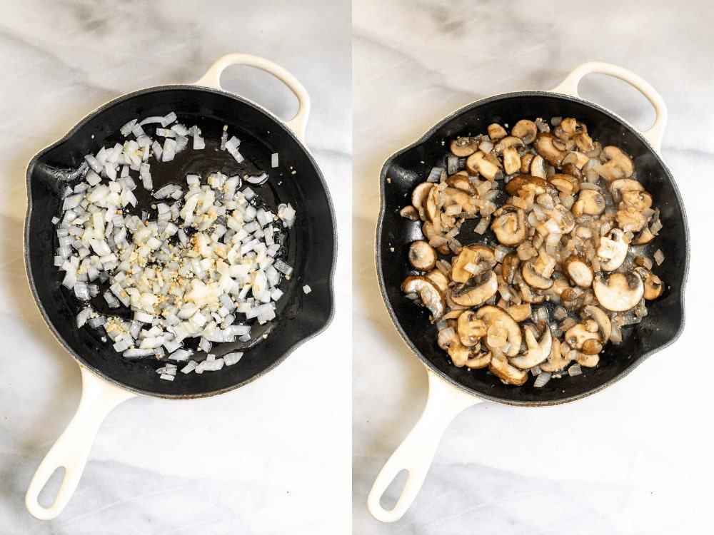Sauteing the mushrooms.