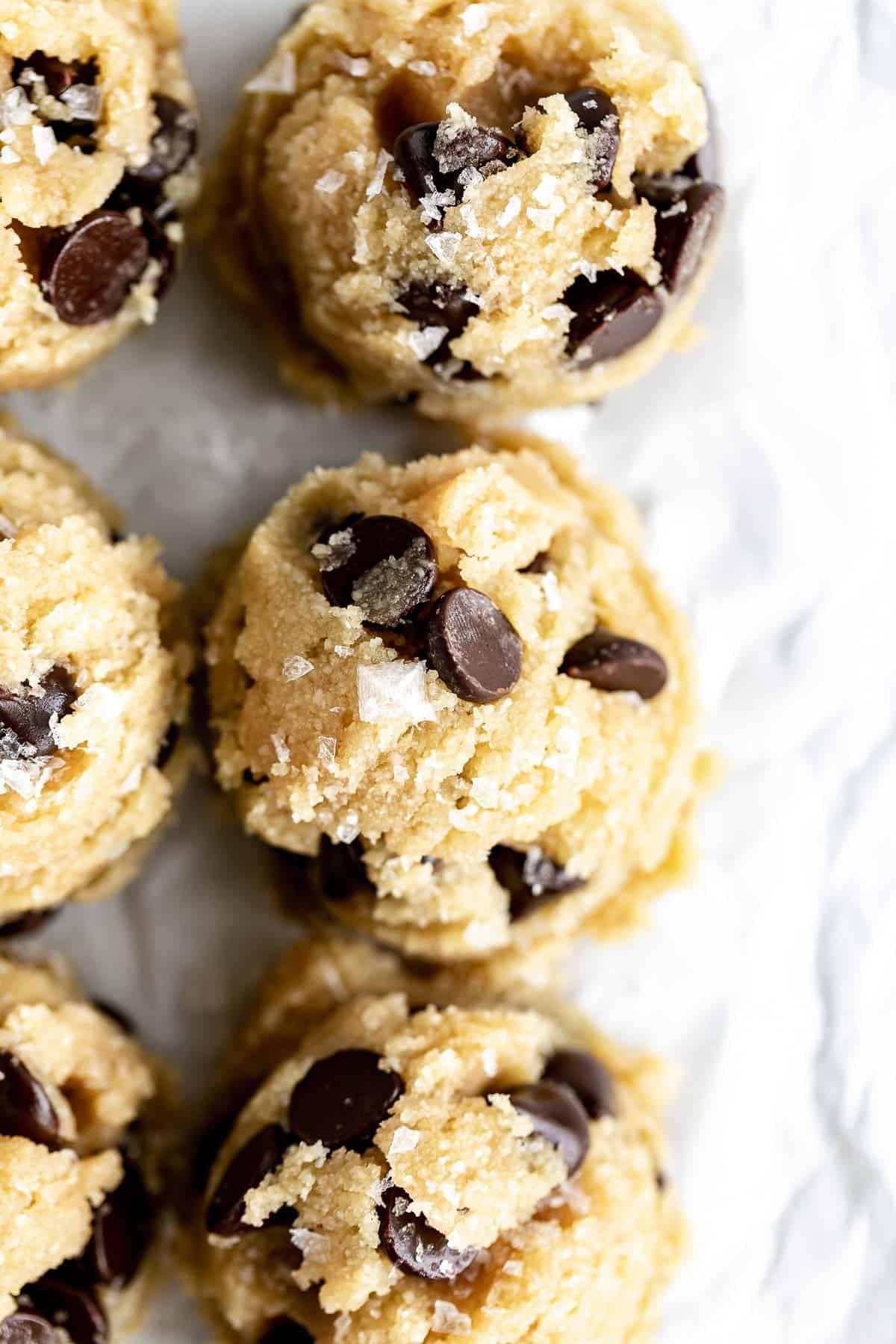 healthy vegan cookie dough scooped into balls
