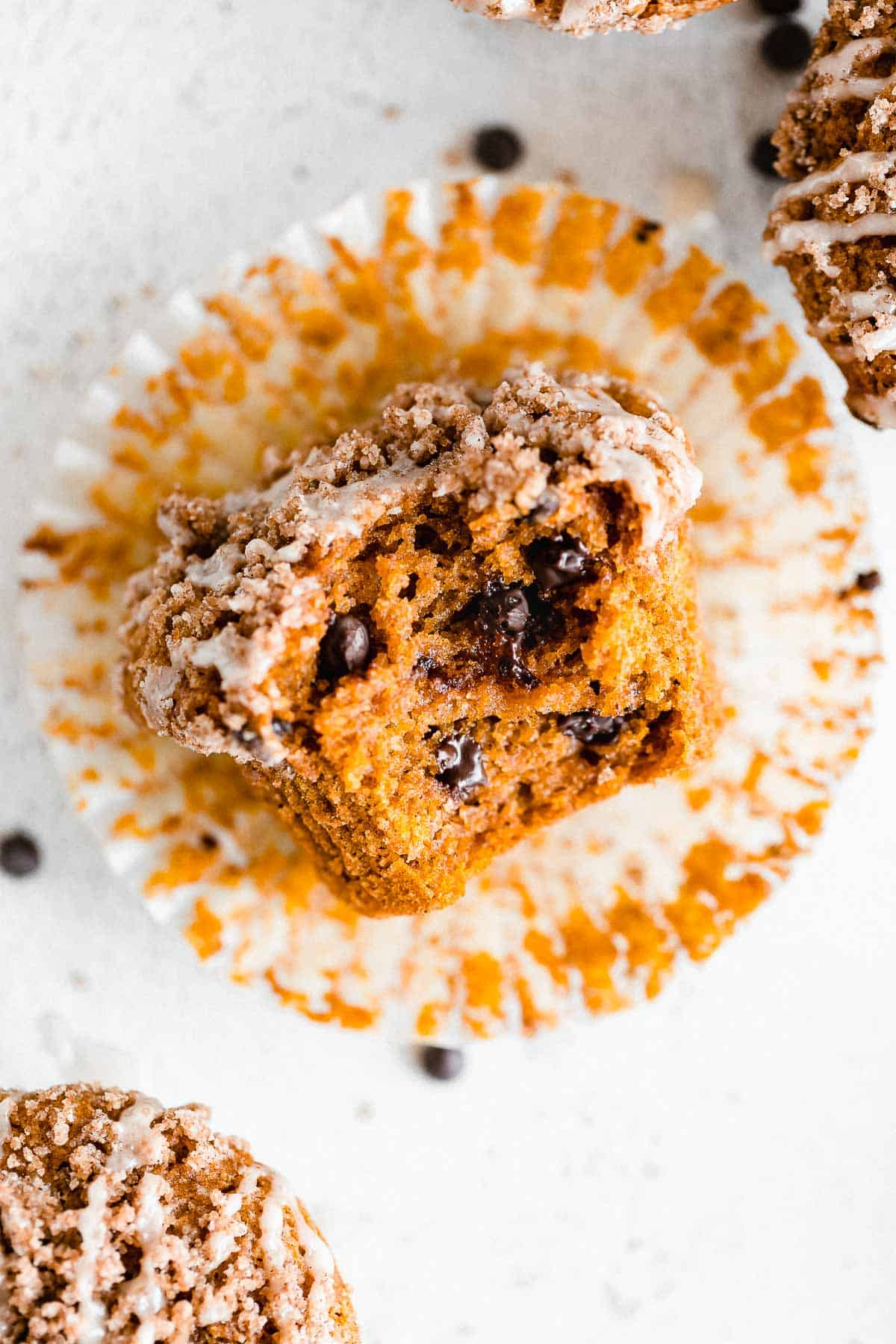 gluten free pumpkin muffins with chocolate chips and cinnamon streusel