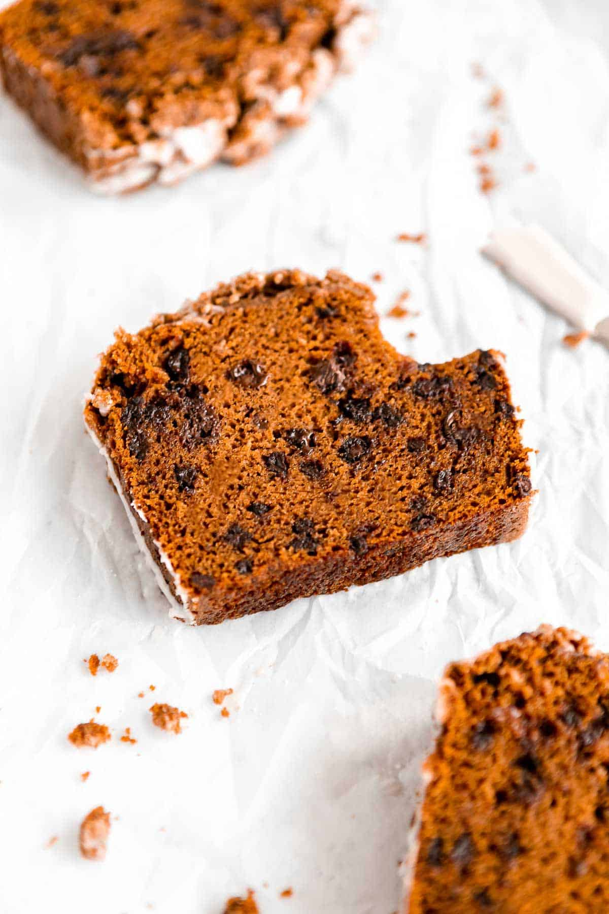 gluten free pumpkin bread with chocolate chips