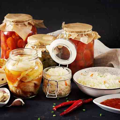 Fermented foods including kimchi and sauerkraut.