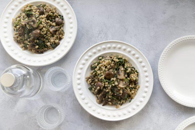 mushroom spinach and barley risotto