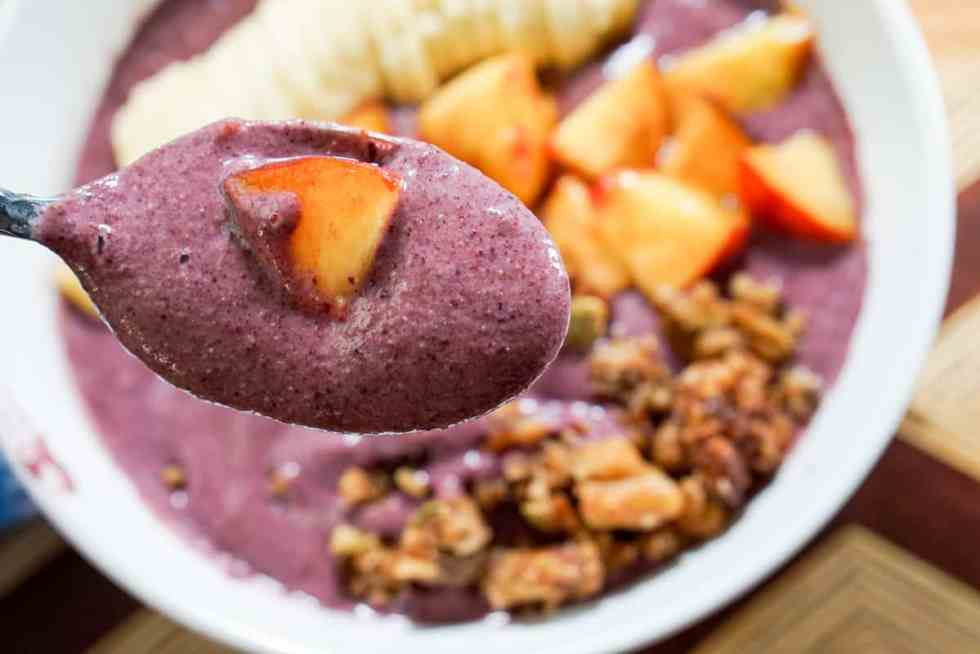 This smoothly bowl is the perfect combo! It's fresh, it's cool, it's simple to make yet has a complex flavor and it includes Palisade Peaches!