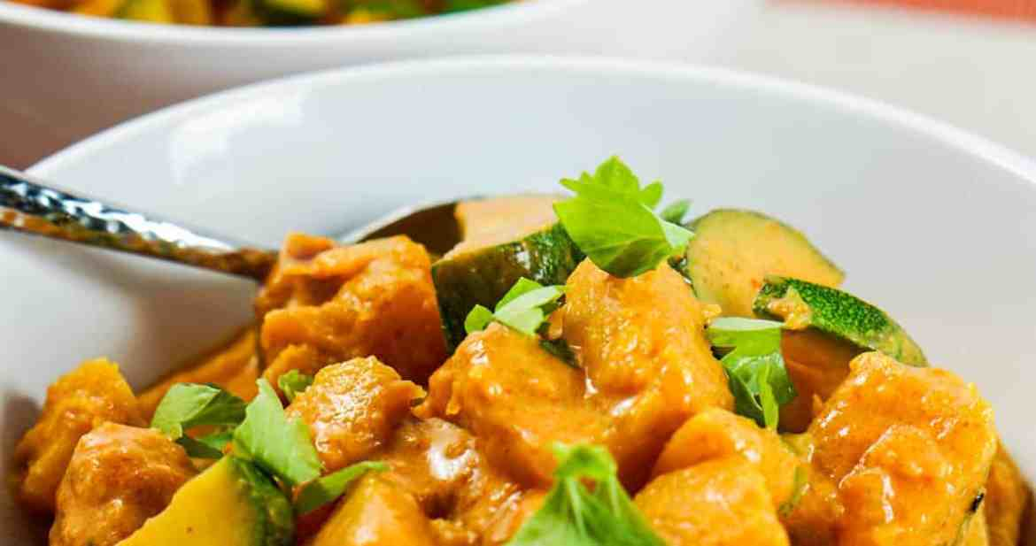 Pumpkin Coconut Curry Recipe - Healthy clean eating curry recipe using real whole food. Great served by itself or over rice or zoodles.