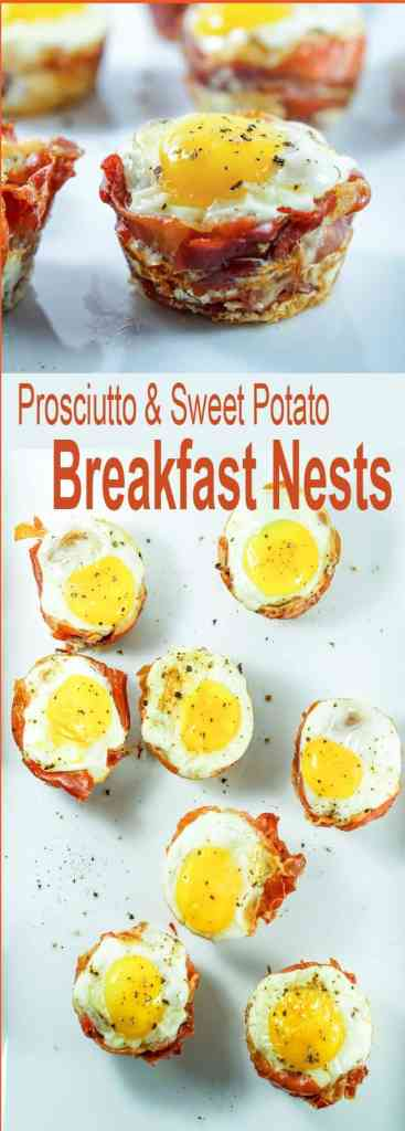 Try this Prosciutto Sweet Potato Breakfast Nests recipe for an easy and healthy on-the-go breakfast that you can prep ahead of time for busy mornings.