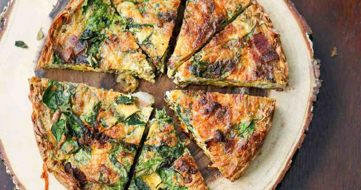 Mother's Day Brunch Menu: A perfect make ahead dish for any event: gluten free, dairy free, paleo, grain free bacon spinach quiche recipe is the answer to a healthy and easy brunch