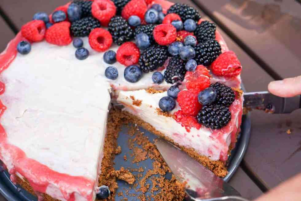 A slightly nutty and naturally fruit flavored Rhubarb Cashew Ice Cream Cake Recipe that's dairy free, gluten free, soy free, egg free and vegan.