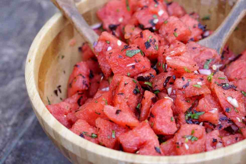 Fresh garden herbs and juicy watermelon make this savory watermelon basil salad recipe a perfect side dish for hot summer days. Dairy, Grain, Gluten Free + Vegan