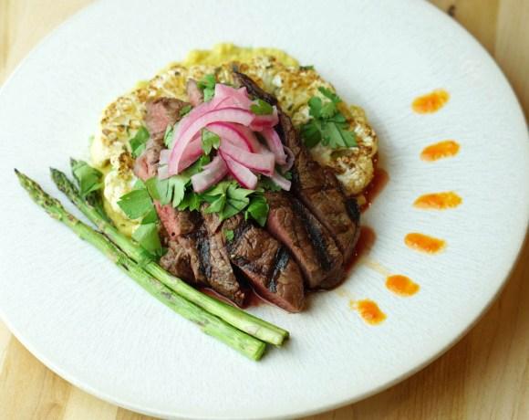 Deconstructed Steak Taco on Curried Cauliflower Steak