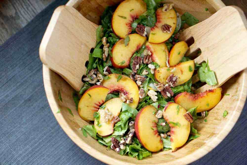 Summer meets fall in this This toasted pecan, cucumber, basil, and peach salad is super fresh and incorporates summer and fall flavors into one great gluten and dairy free dish. It's also super quick and sugar-free