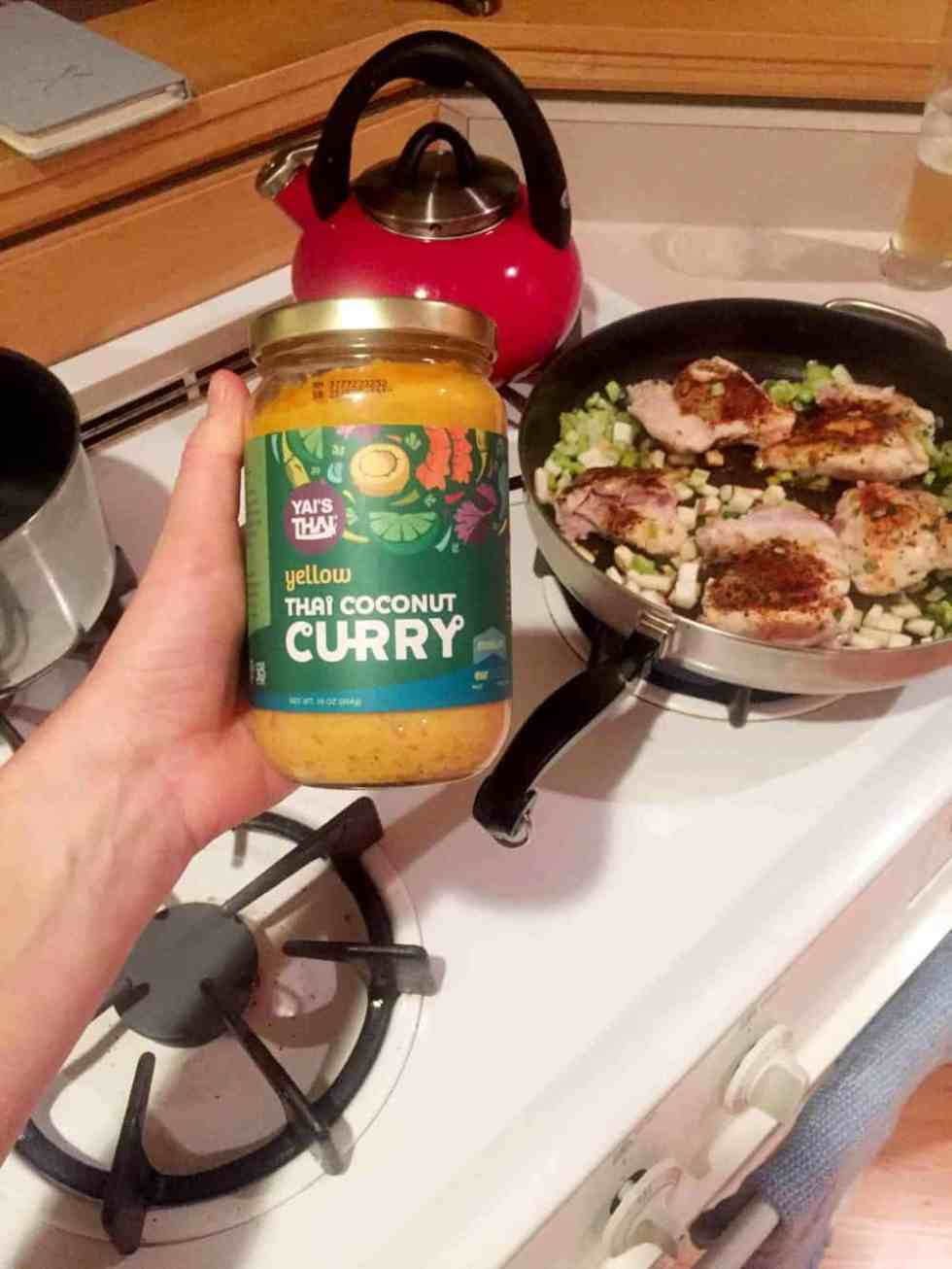 Delicious chicken thai curry made with yai thai curry sauce, radishes, turnips and celery