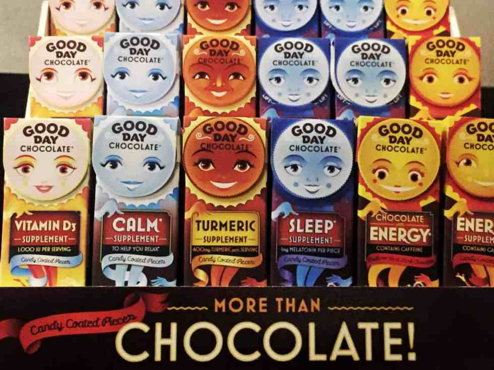 Adult chocolate supplements? Yes please. Good day chocolate makes sleep, Vitamin D, turmeric and probiotic chocolates.