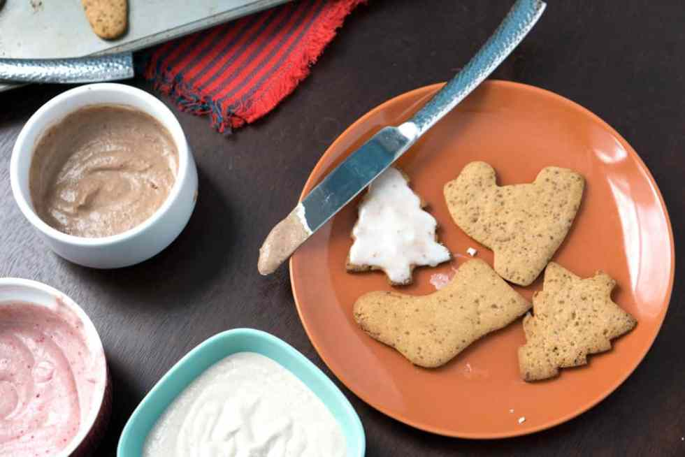 Healthy cut out cookies with 2 ingredient healthy blender frosting.