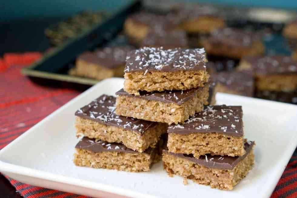 Grandma's classic English Toffee Bars transformed into a healthier and more delicious version. Melt in your mouth goodness that's gluten, dairy and refined sugar free.