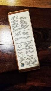 The menu at San juan del Sur cerveceria