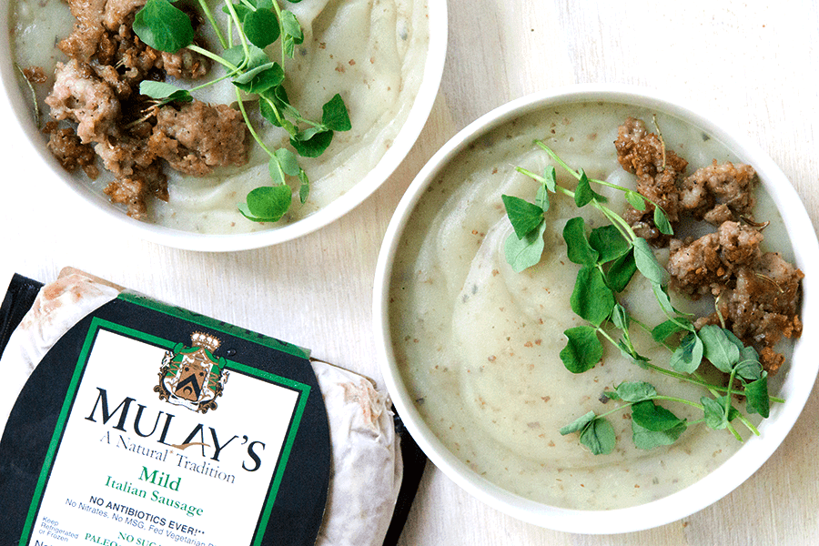Creamy potato soup with Mulay's Italian sausage and pea sprouts is savory, creamy, full of gut healing nutrients, perfect for when your craving carbs yet want to be healthy.