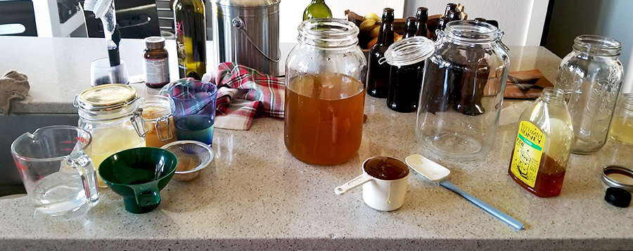 all the setup and tools for Home brewed Jun, a honey and green tea version of kombucha,
