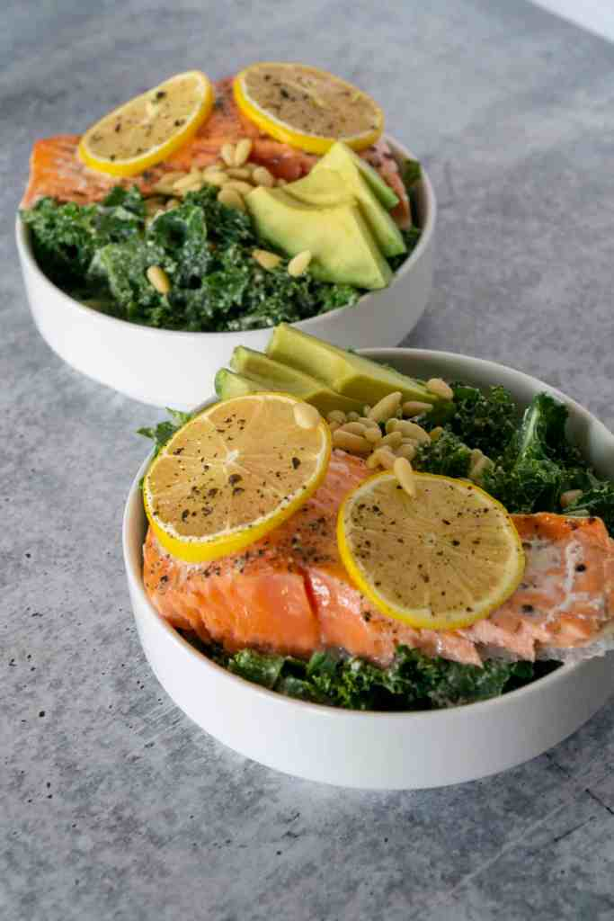 Lemon Baked wild Salmon on Caesar Kale