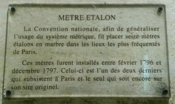 plaque metre etalon