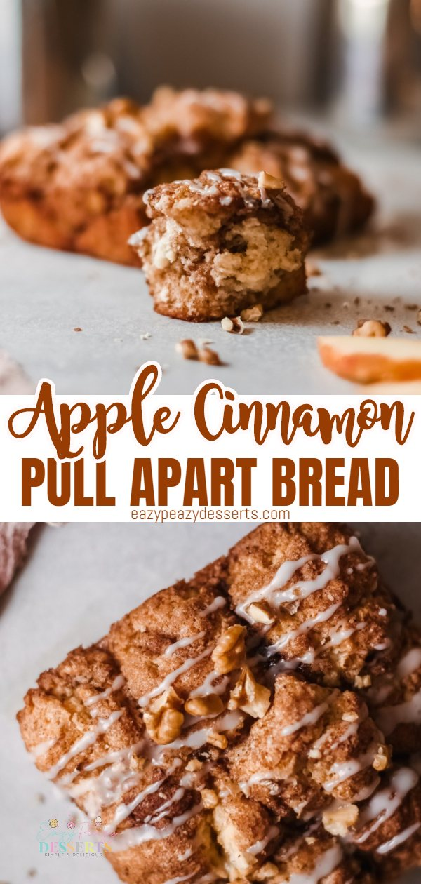 This apple pull apart bread is comfort food in a bite! Pillowy soft balls of bread are coated in an apple butter, cinnamon mix and baked to perfection. Crunchy, sweet, spicy and so flavorful, this apple cinnamon bread is about to become your go-to dessert or snack this season. via @eazypeazydesserts