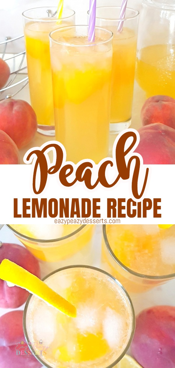Made with only three ingredients, this peach lemonade is so easy, quick and delicious, it will become your go to drink whenever you're able to find peaches! via @eazypeazydesserts