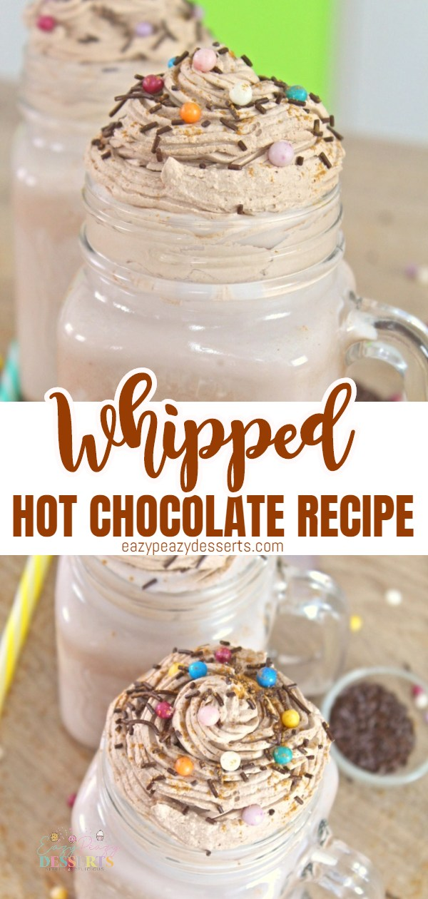 Everybody loves chocolate! A hot chocolate in the middle of a cold winter day is the greatest thing to warm you up. Take it to the next level with this whipped hot chocolate recipe that comes out in less than five minutes! via @eazypeazydesserts