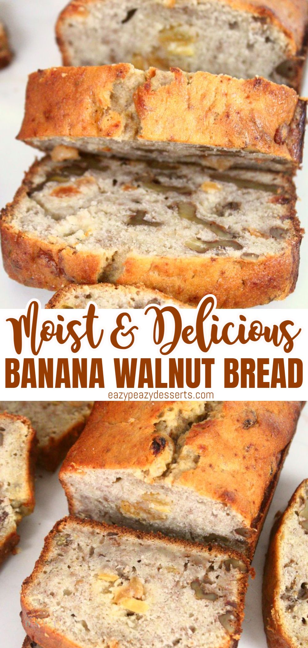Banana bread is just so delicious and moist, it's great as a breakfast bread. Today I'm going to show you a super-easy banana and walnut bread that even beginners can make. You don't even need a mixer to make it. via @eazypeazydesserts