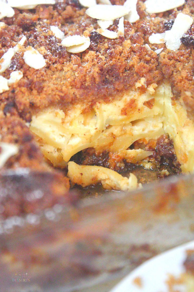 Noodle kugel with raisins