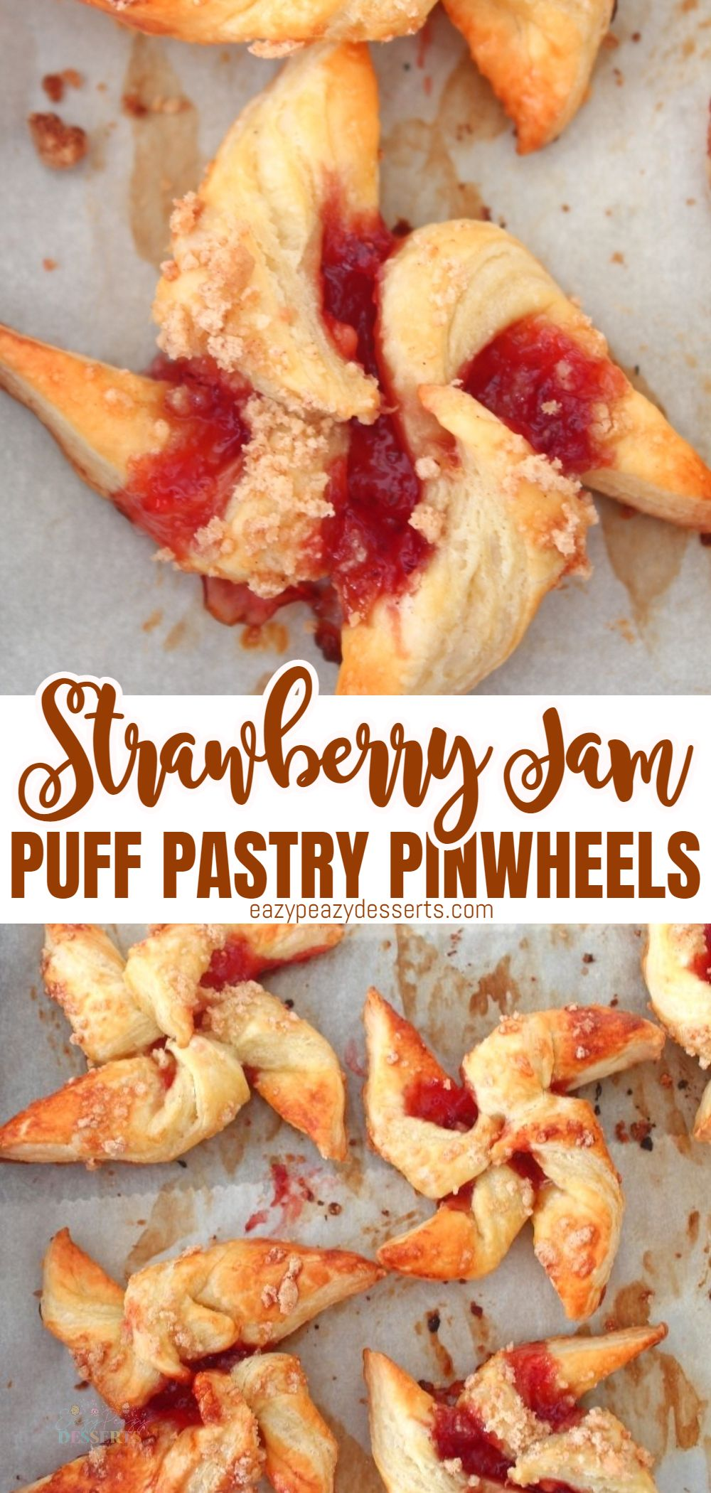 Having a party and didn't have time to make a dessert? This strawberry puff pastry recipe will save you: these delicious puff pastry pinwheels made with strawberry jam are incredibly easy and quick to make, only uses three ingredients and bake in no-time. The perfect last-minute dessert! via @eazypeazydesserts