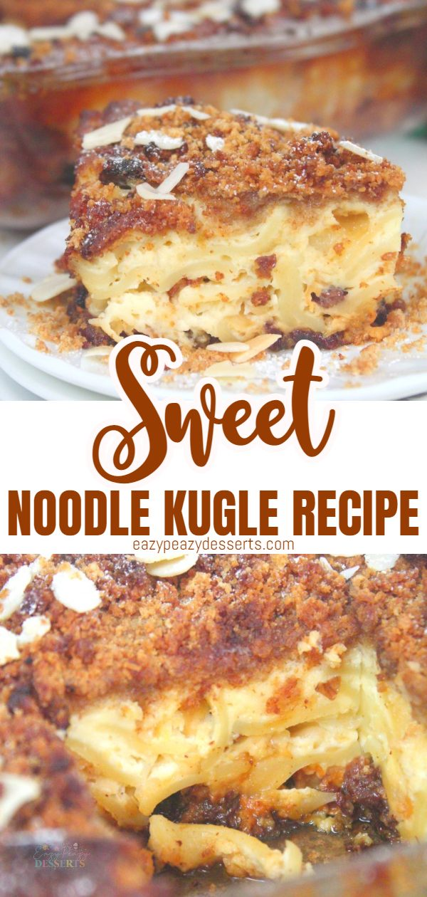 Also called Noodle Pudding, the sweet noodle kugel is a popular dish at Jewish holidays, especially Hanukkah. It can be made with any noodle or pasta type you have at hand and it's a delicious combination of noodles, eggs, butter and sugar, perfect for ending a lovely holiday evening with your family. via @eazypeazydesserts