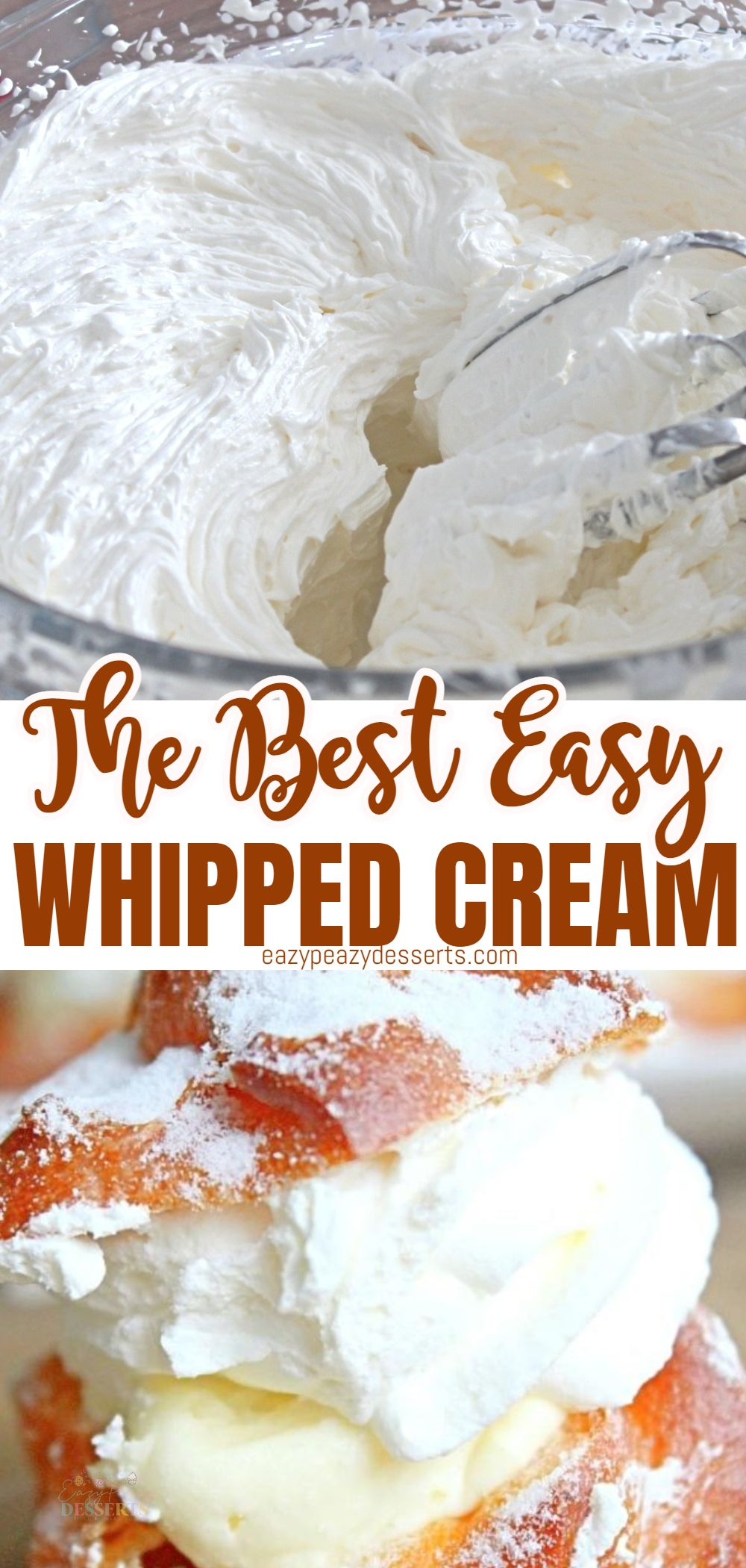 Who doesn't love whipped cream? It's soft, light and delicious, but a perfectly whipped cream does have its secrets. In this tutorial I'm going to show you an easy whipped cream recipe, so that you can make the most delicious desserts with whipped cream in no time! via @eazypeazydesserts
