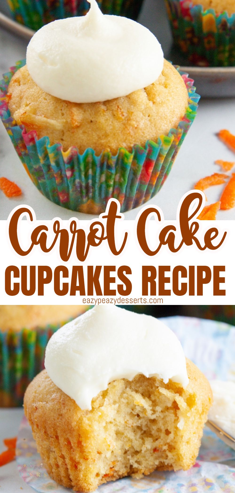 Carrot cake cupcakes are a wonderful option for a dessert, all year round! The delicious combination of carrots and spices, make this classic treat a great choice for any get-together! via @eazypeazydesserts
