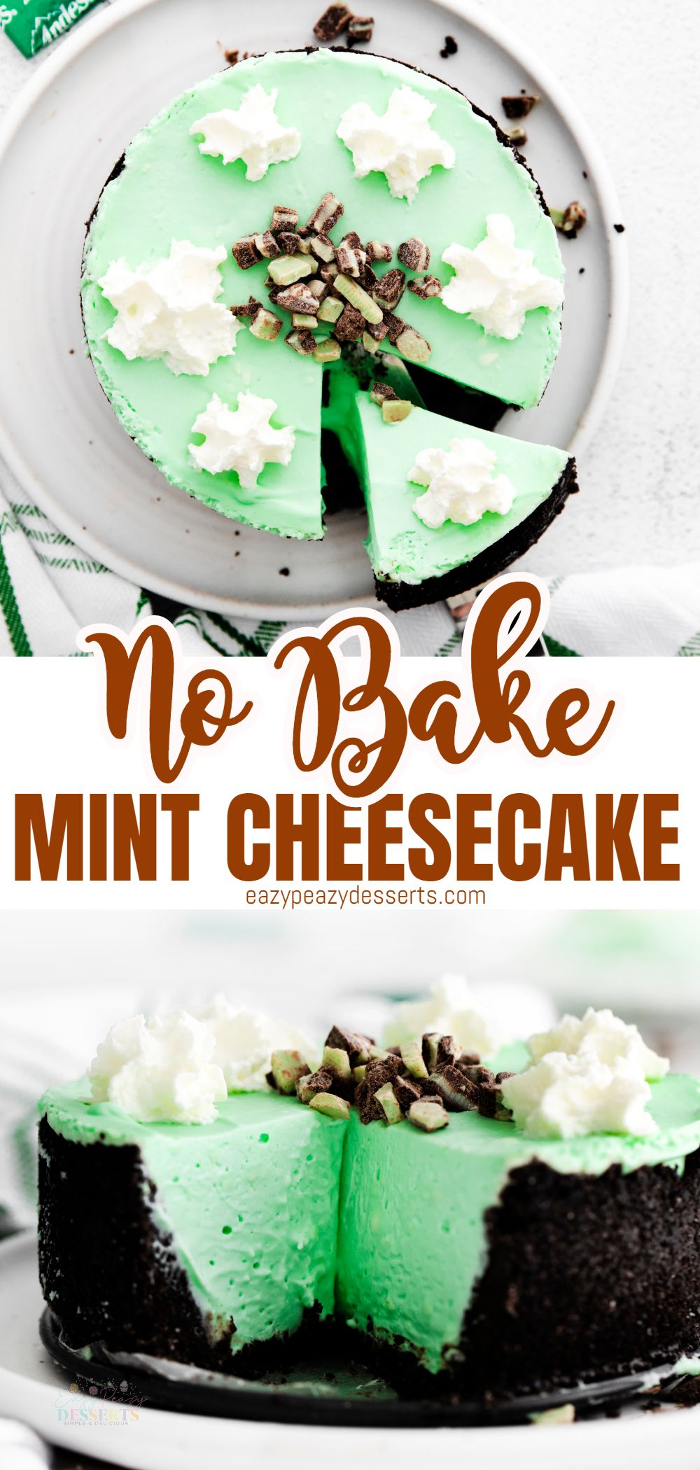 With a crumbly chocolate cookie crust and creamy filling, this green mint cheesecake is a refreshing treat perfect for any celebration. In addition to using the classic combination of chocolate and mint, you'll love the fun green color you get when mixing crème de menthe into a cheesecake. via @eazypeazydesserts