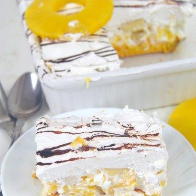 No bake BANANA SPLIT DESSERT with pineapple