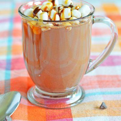 BOOZY HOT CHOCOLATE with caramel flavor