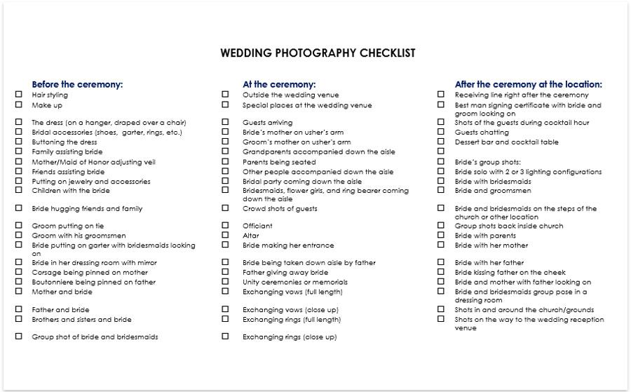 Wedding Photography Checklist Pdf Download: Poses, Shots