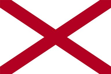 Alabama state flag which consists of a crimson red diagonal cross of St. Andrew on a solid white background.