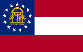 Georgia state flag with red-white-red stripe background and blue canton with coat of arms encircled by 13 white stars.
