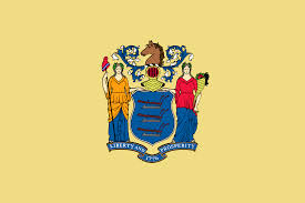 New Jersey state flag with coat of arms and phrase, Liberty and Prosperity; and date, 1776 on a buff-colored background.