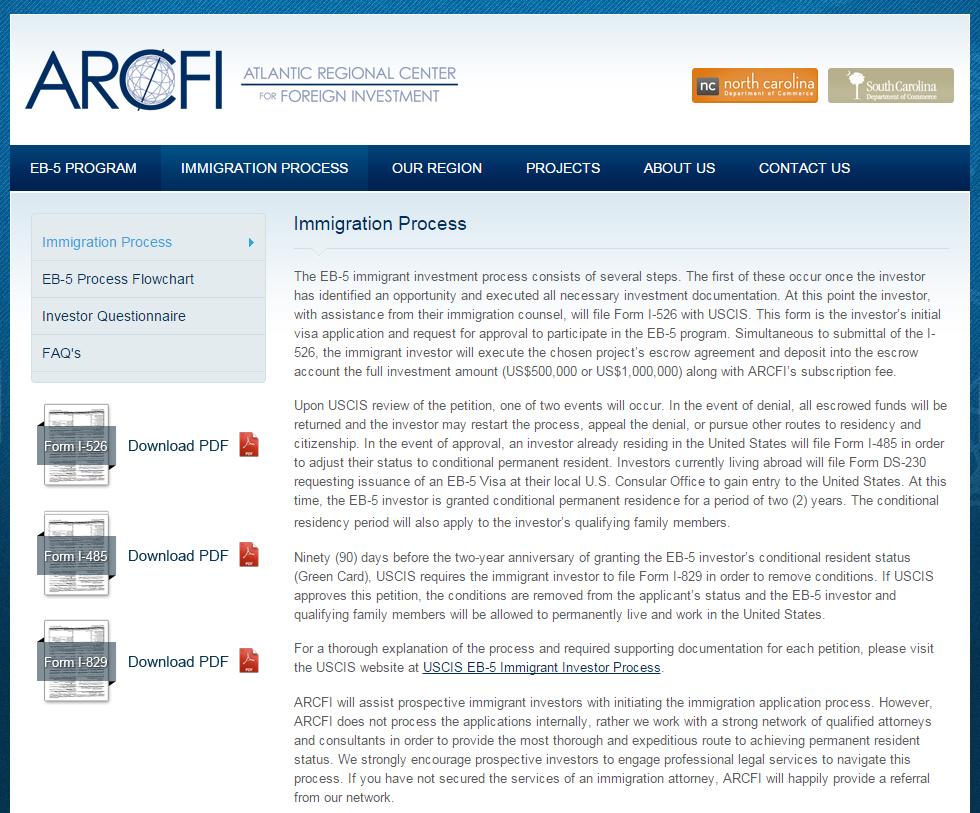 hight resolution of atlantic regional center for foreign investment arcfi screenshot