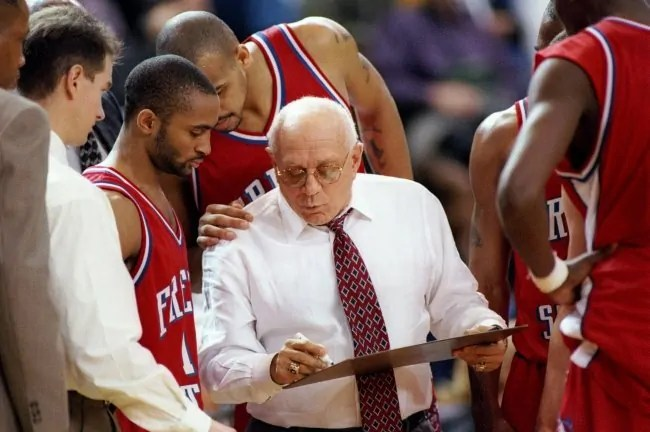 6 Feb 1997:  Freson State Bulldogs head coach Jerry Tarkanian confers with his players during a game against the San Jose State Spartans at the Event Center in San Jose, California.  Fresno Staste won the game, 66-61. Mandatory Credit: Otto Greule  /Allsp
