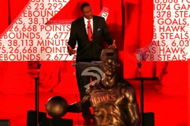 ATLANTA, GA - MARCH 05:  The Atlanta Hawks honor NBA Legend Dominique Wilkins as they unveil a statue in his name at Philips Arena on March 5, 2015 in Atlanta, Georgia.  NOTE TO USER: User expressly acknowledges and agrees that, by downloading and/or using this photograph, user is consenting to the terms and conditions of the Getty Images License Agreement.  (Photo by Kevin C. Cox/Getty Images)