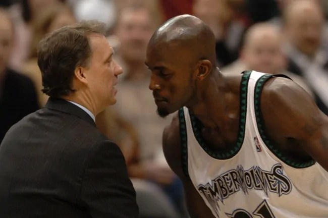 Timberwolves coach Flip Saunders, then with the Detroit Pistons, greets Kevin Garnett before a January 2006 game at Target Center in Minneapolis. (Pioneer Press file)