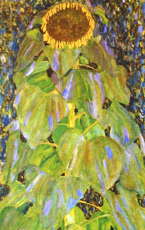 Gustav Klimt Sonnenblume Unikat auf Ziegel 49  Billerantik