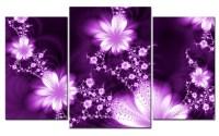 Giclee CANVAS PRINT FLOWER FLY PURPLE MODERN ART 3 parts ...
