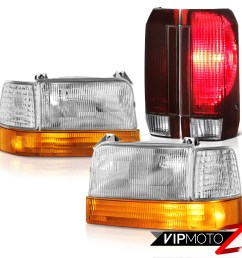 details about 92 93 94 95 96 ford f250 rosso burgundy tail lights sterling chrome headlights [ 1000 x 1000 Pixel ]