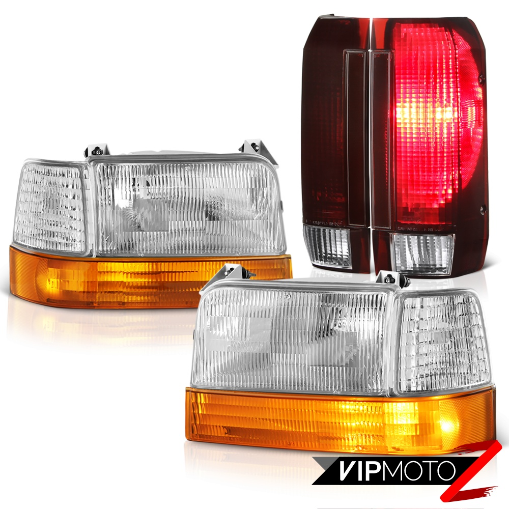 hight resolution of details about 92 93 94 95 96 ford f250 rosso burgundy tail lights sterling chrome headlights